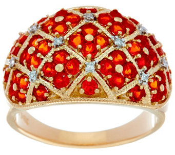 Pave' Mexican Fire Opal Domed Band Ring, 14K Gold 1.00 cttw - J330170