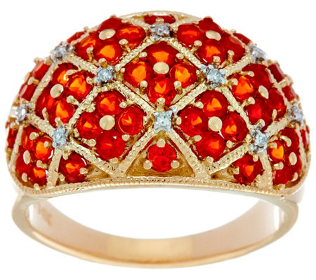 Pave' Mexican Fire Opal Domed Band Ring, 14K Gold 1.00 cttw