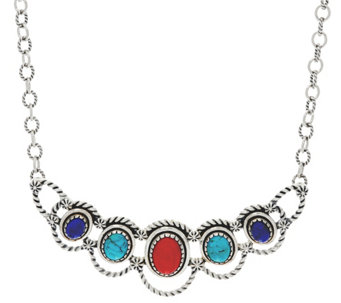 Sterling Silver Oval Gemstone Statement Necklace by American West - J330470