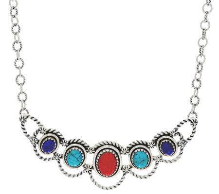 Sterling Silver Oval Gemstone Statement Necklace by American West