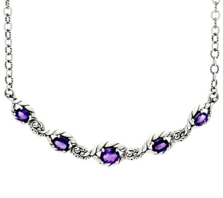 Carolyn Pollack Sterling Silver 7.00  cttw Amethyst Adj. Necklace