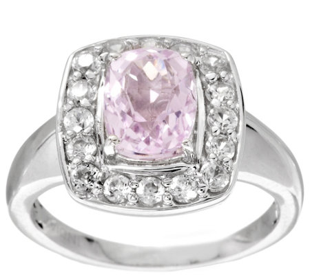 """As Is"" 2.20 ct tw Cushion Cut Kunzite & White Zircon Sterling Ring"