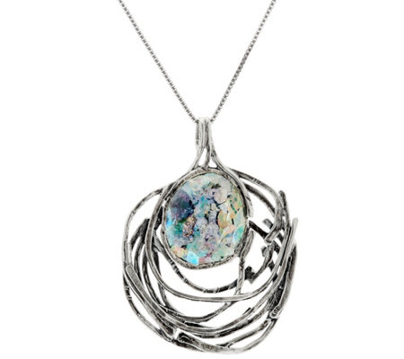 Sterling Openwork Roman Glass Pendant w/Chain by Or Paz