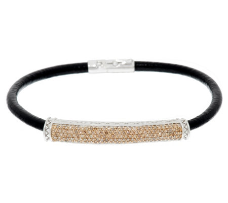 """As Is"" Champagne Diamond Leather Bracelet, 5/8 cttw Affinity"