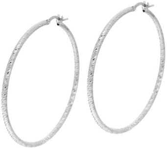 """As Is"" Vicenza Silver Sterling 1-3/4"" Diamond Cut Round Hoop Earrings - J332670"