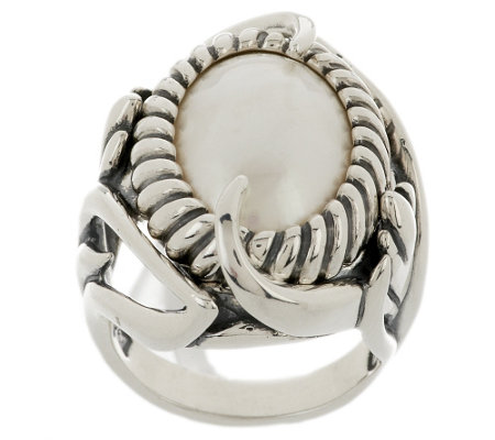 """As Is"" Carolyn Pollack Mabe Pearl Sterling Coronation Ring"