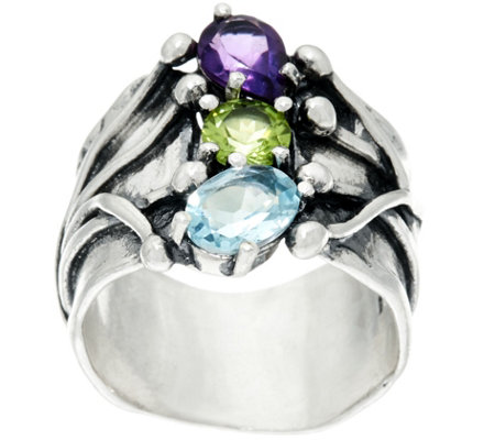 Sterling Silver 1.80 cttw Multi-Gemstone Ring by Or Paz