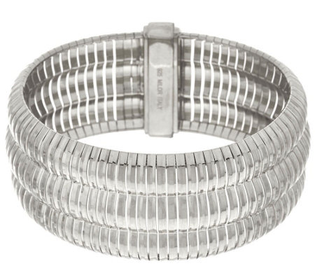 """As Is"" Vicenza Silver Sterling 7-1/4"" Triple Row Omega Bracelet 42.3g"