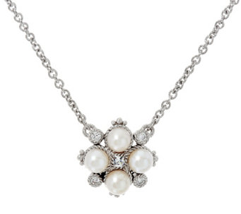 Judith Ripka Sterling Cultured Pearl & Diamonique Necklace - J333670