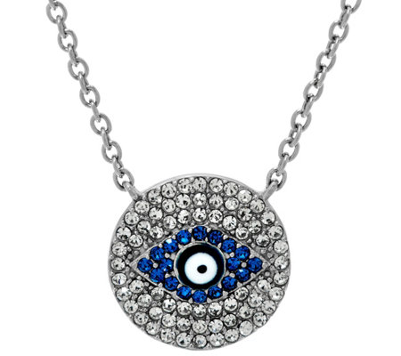 """As Is"" Stainless Steel Crystal Evil Eye Necklace w/ 2"" Extender"