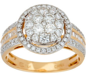 100 cttw round cluster diamond ring 14k gold by affinity j347270 - Qvc Wedding Rings