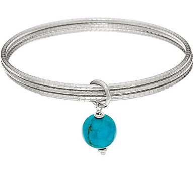 Italian Silver Turquoise Drop Round Multi-bangles Sterling - J347770