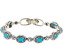 Sterling Concha & Gemstone Tennis Bracelet by American West - J348670