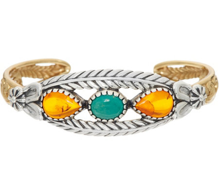 Sterling Silver & Brass Amber & Turquoise Cuff by American West