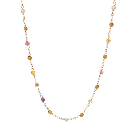 "Italian Gold 18"" Multi-Bead Gemstone Necklace 14K Gold, 2.7g"