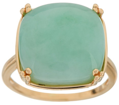 Jade Bold Cushion Cut Ring 14K Gold