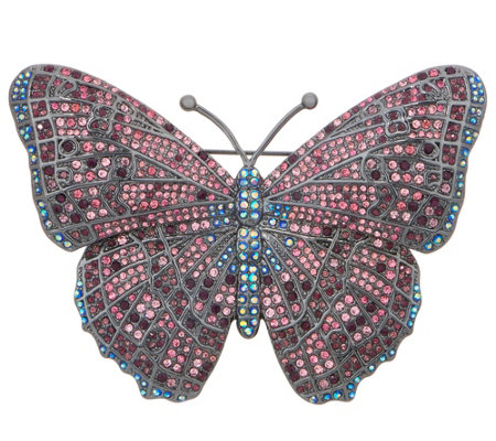 Joan Rivers Midnight Crystal Butterfly Pin