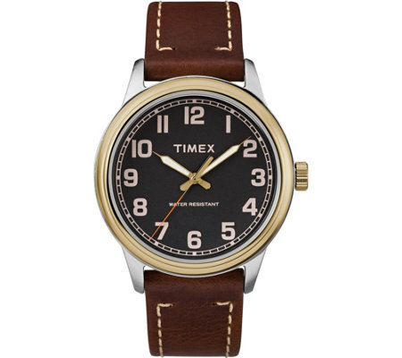 Timex Men's New England Brown Leather Strap Watch