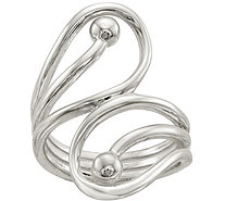 Sterling Cutout Swirl & Bead Ring - J380170