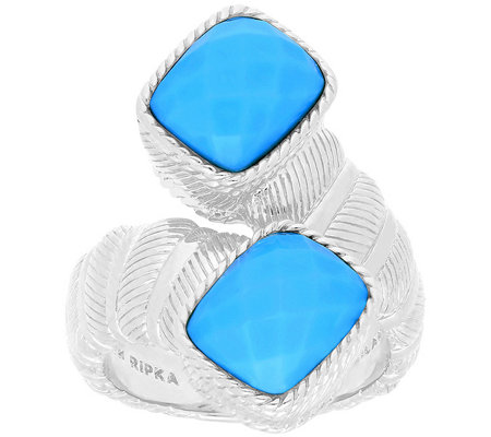Judith Ripka Sterling Turquoise Bypass Ring