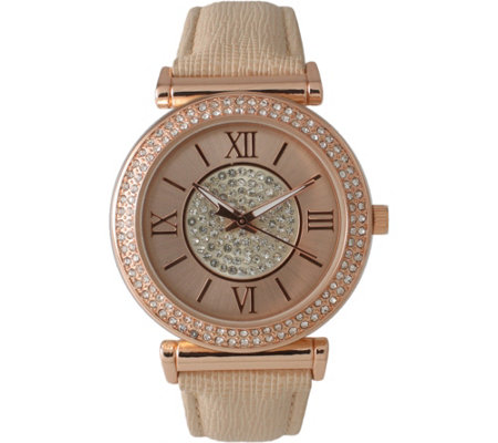 Olivia Pratt Women's Elegant Center Sparkle Leather Watch