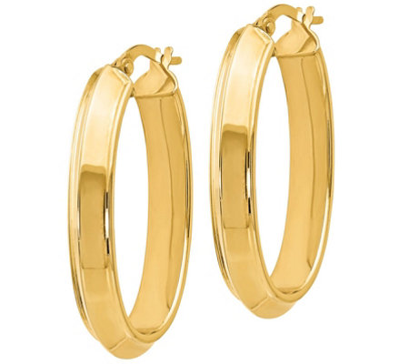 "Italian Gold 1-1/4"" Oval Hoop Earrings 14K, 3.3g"