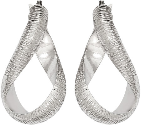 Italian Gold Textured Twisted Hoop Earrings 14K, 3.6g