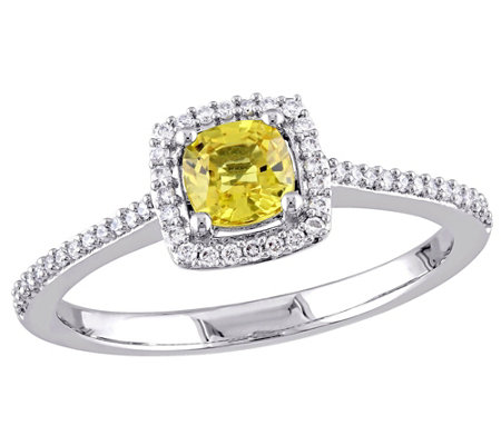 14K Gold Cushion-Cut Yellow Sapphire & DiamondHalo Ring