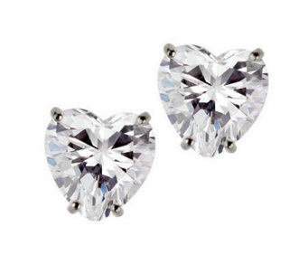 Diamonique 4 ct tw Heart Stud Earrings, 14KGold - J105271