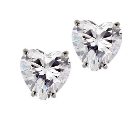 Diamonique 4 ct tw Heart Stud Earrings, 14KGold