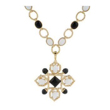 Luxe Rachel Zoe Cabochon Link Necklace with Pin/Enhancer