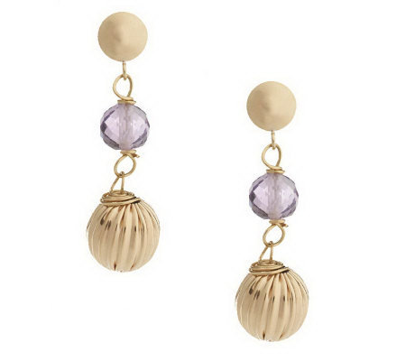 EternaGold 2.60 ct tw Gemstone and Fluted Bead Earrings, 14K
