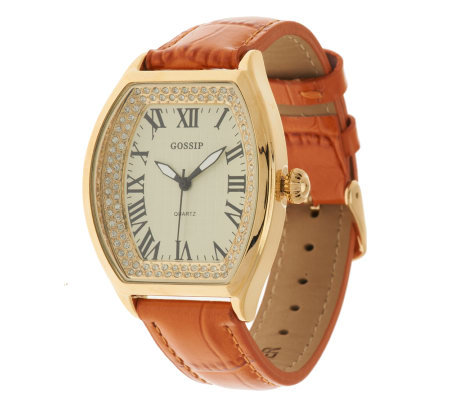 Gossip Crystal Dial Watch with Croco Leather Strap