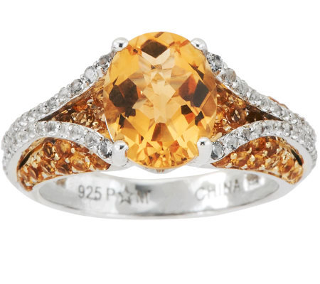 3.50 ct tw Citrine & Diamond Cut White Topaz Sterling Ring