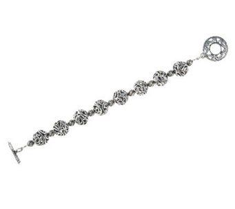 "Carolyn Pollack Sterling 7-1/4"" Signature Bead Toggle Bracelet, 27.0g - J282971"