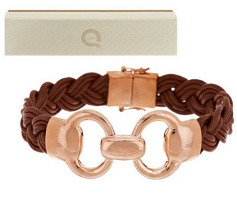 Bronzo Italia Status Link Braided Camel Leather Bracelet - J283871