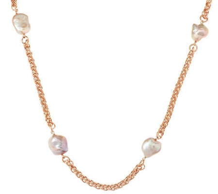 "Honora Cultured Pearl 36"" Keshi Bronze Station Necklace"