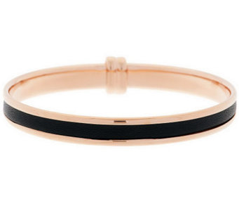 Bronze Leather Inlay Round Bangle by Bronzo Italia - J288271