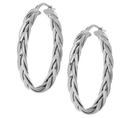 "VicenzaSilver Sterling 1-1/2"" Braided Oval Hoop Earrings"