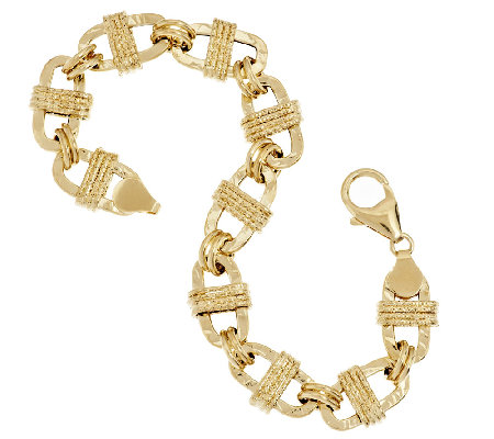 "Vicenza Gold 7-1/4"" Textured Oval Wrapped Status Bracelet 14K Gold, 6.9g"