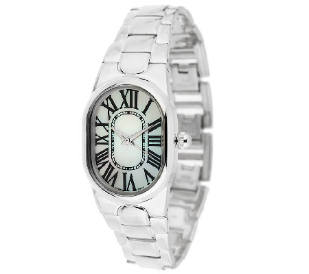 """As Is"" UltraFine Silver Oval Mother-of-Pearl Panther Watch"