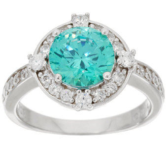 Diamonique & Simulated Apatite Halo Ring, Sterling - J294771