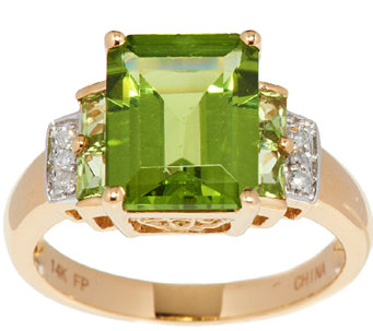 Emerald Cut Peridot and Diamond Accent Ring, 14K Gold - J295871