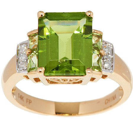 Emerald Cut Peridot and Diamond Accent Ring, 14K Gold