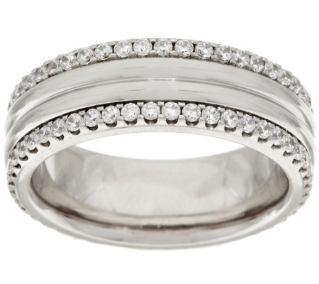 Stainless Steel Crystal Border Polished Ring