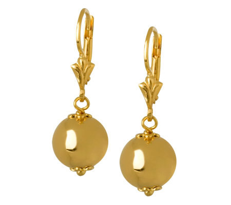 Veronese 18K Clad Polished Bead Drop Earrings