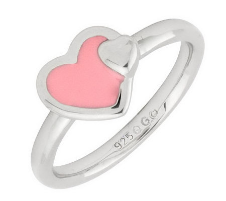 Simply Stacks Sterling Polished & Epoxy EnamelHeart Ring