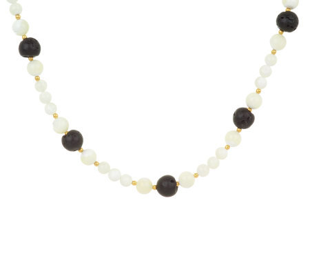 Lee Sands Lava Rock & Mother-of-Pearl Necklace