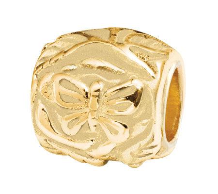 Prerogatives 14K Gold-Plated Sterling ButterflyFloral Bead