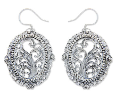 "Novica Artisan-Crafted Sterling ""Filigree Sanctuary"" Earrings"